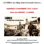 Nancy : CONFERENCE PROJECTION LUDRES, UN VILLAGE LORRAIN DANS LA GRANDE GUERRE PAR OLIVIER PETIT