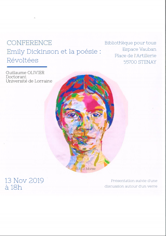 CONFERENCE - EMILY DICKINSON ET LA POESIE : REVOLTEES