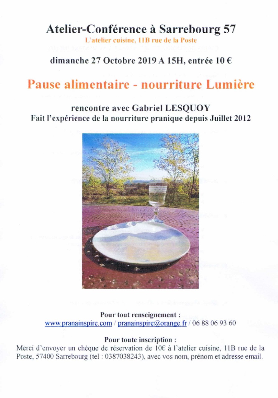 ATELIER-CONFERENCE : PAUSE ALIMENTAIRE - NOURRITURE LUMIERE