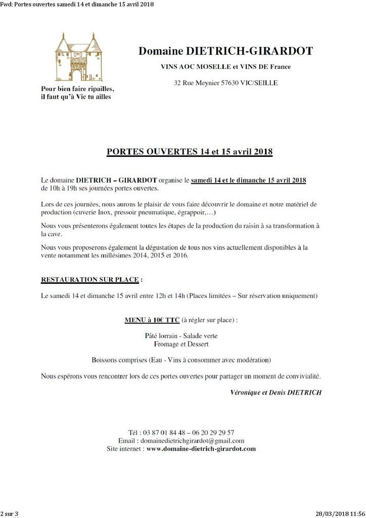 PORTES OUVERTES DOMAINE DIETRICH GIRARDOT